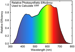 McCree 1972 graph for relative photosynthetic efficiency