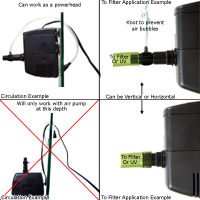 Via Aqua 1300, SunSun HJ-1542, AquaTop SWP-1300 submersible pump set up configurations