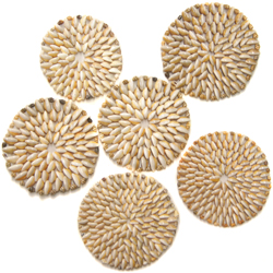 Shell Placemats, genuine Cowrie seashells