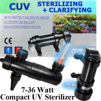 Via Aqua, SunSun Terminator Compact UV Sterilizer, Clarifier, Kits for Aquarium, Pond