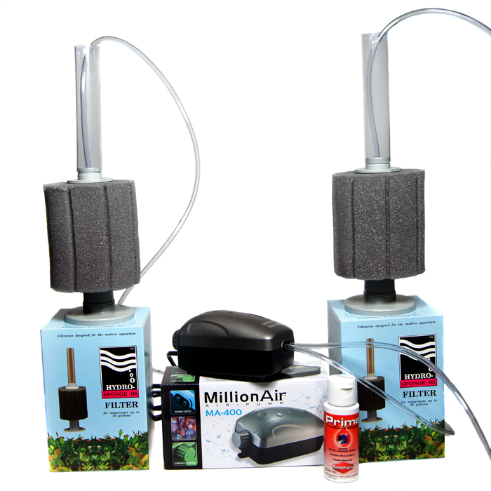 Aquarium Filter Starter Kit; Water or Air Pump Kits with Conditioner.