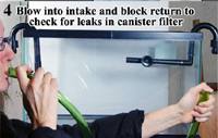 Canister Filter Pressure Test, blowing and suction