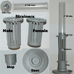 Hydro Sponge Filter Parts, bulls eye, female & male strainer, step, base, lift tube