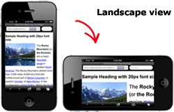 Web site best viewed in landscape view on mobile, smart phone