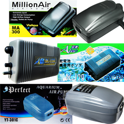 Aquarium Air Pumps, Via Aqua Million Air, small to large aquariums, hydroponics, battery