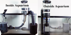 TMC V2 Reef Aquarium Skimmer inside and outside tank view