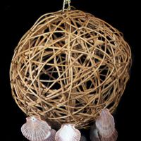 Wicker Orb Shell Wind Chime with Scallops & Saddle Oysters, close up view