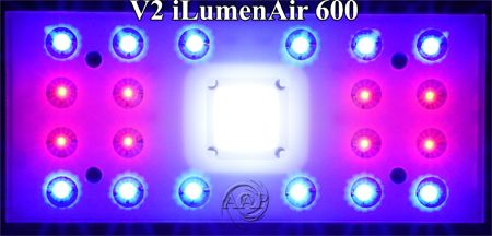 Ilumenair 600 Reef Aquarium LED emitter layout